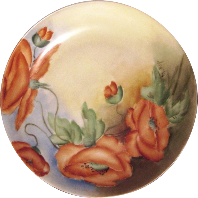 50% OFF!  Stunning Bavarian Porcelain Cabinet Plate ~ Hand Painted with Vibrant Orange Poppies ~ Artist Signed 'M Bay' ~ L. Hutschenreuther  1894-1931