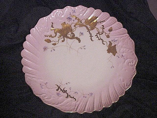 "50% OFF!  Gorgeous 12 ½"" Limoges Porcelain Charger ~ Hand Painted with Pink Rim, Gold Raised and Delicate Purple Flowers ~ LATRILLE FRERES (Limoges, France) ~ ca 1899 - 1913"