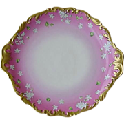 "50% OFF! 14 ½ ""  Limoges Porcelain Charger ~ Rococo Gold Rim ~ Hand Painted with White Violets and Unusual Pink Rim ~ T & V Limoges 1892-1907"