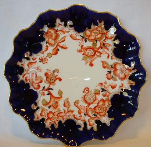 Delightful late 1800's Porcelain Cabinet Plate ~ Hand Painted ~ Cobalt / Flow Blue with Rust Colored Flowers ~ Playos Clasonie