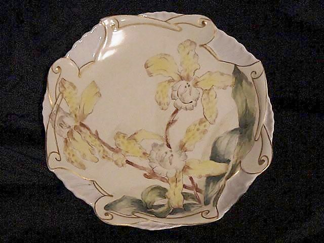 "50% OFF! Limoges Porcelain ""One of a Kind"" ~ Hand Painted with Yellow Bearded Iris ~ Artist Initialed ~C.H. Limoges 1880-1890"