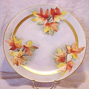 "Wonderful Bavarian Porcelain Charger 12 ¼"" ~ Hand Painted with Gorgeous Fall Colored Oak Leaves ~ Plankenhammer Porcelain Factory, Bavaria, 1908+"
