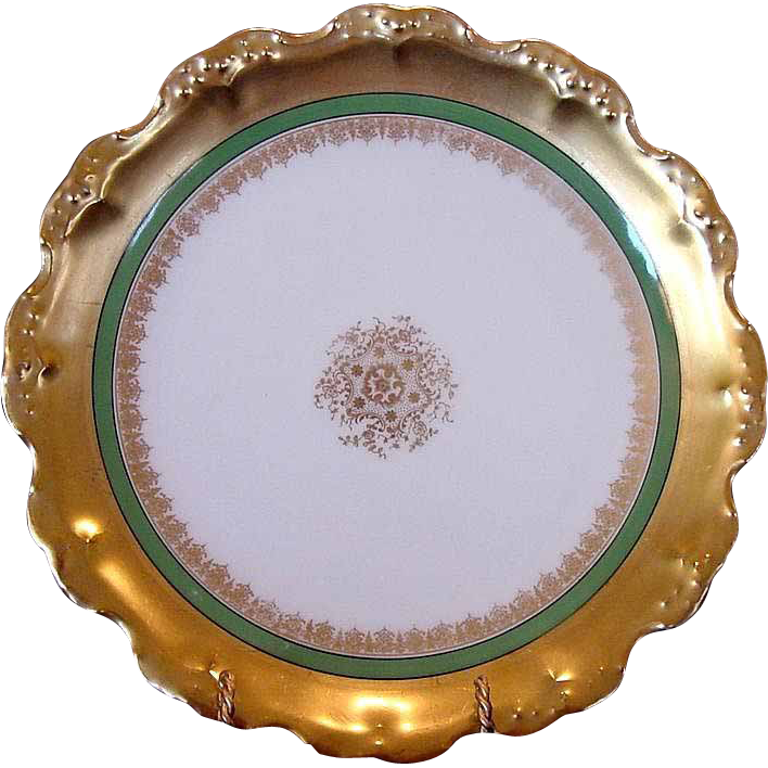 Exquisite Limoges Porcelain Cabinet Plate – WIDE GOLD Rim on White~ Blakeman & Henderson , Coiffe / B & H  1891-1914