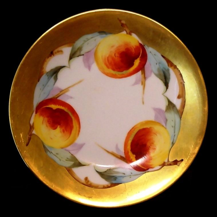 """Exquisite Limoges Porcelain Cabinet Plate ~ Hand Painted with 1"""" Gold Rim and Ripe Peaches ~ Elite Limoges France 1900-1914"""