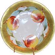 "50% OFF! Exquisite Limoges Porcelain Cabinet Plate ~ Hand Painted with 1"" Gold Rim and Ripe Peaches ~ Elite Limoges France 1900-1914"