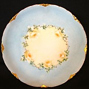 Wonderful Bavarian ~ Porcelain Cabinet Plate ~ Hand Painted Baby Blue with Yellow Roses~ Versailles Blank ~ Rosenthal 1901+