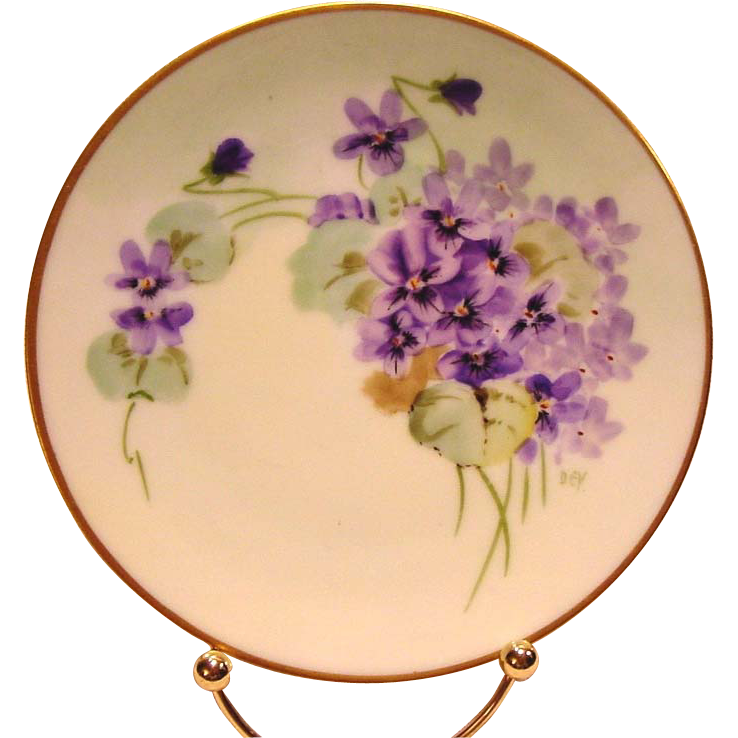 "50% OFF!  Pickard Studio Decorated ~ Cabinet Plate ~ Hand Painted with Purple Violets ~ Artist Signed ""DEV'' - DEVOE ~ Thomas Bavaria~ 1912-1919"