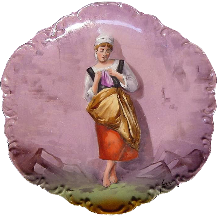 Charming ''T Luc'' Signed Masterpiece' Limoges 10'' Wall Plaque / Cabinet Plate ~ Hand Painted ~ Barefoot Peasant Girl ~ Coronet ca.1906-1920