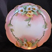 "Charming Pickard Studio Decorated ~ Bavarian Porcelain Cabinet Plate ~ Hand Painted with Yellow and White Daisies ~ Signed by ""Fredrick Walters' ~ Rosenthal / Pickard 1905-1910"