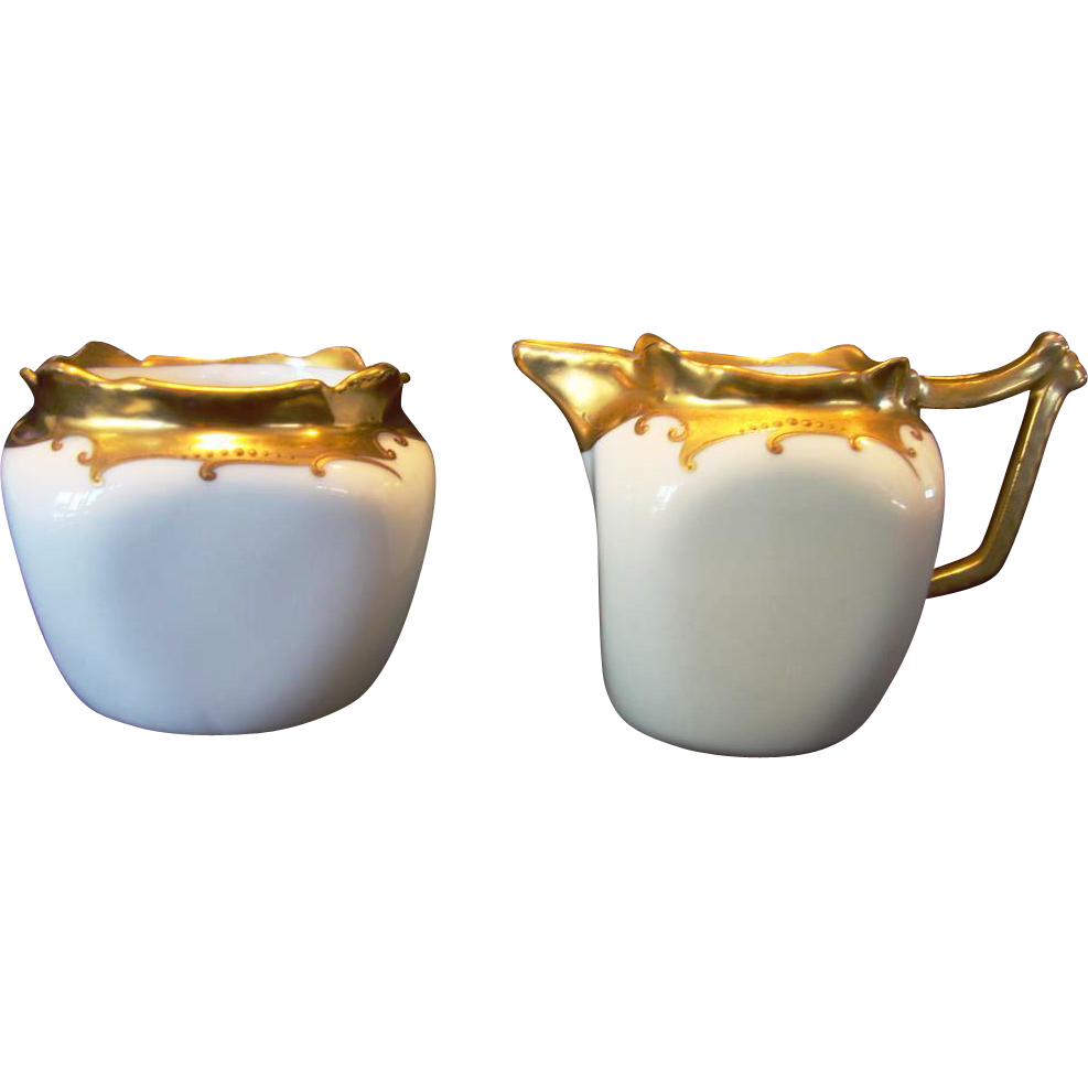 REDUCED! Wonderful Bavarian Sugar Creamer Set Decorated by Stouffer ~ Gold on White ~ Stouffer 1920's+