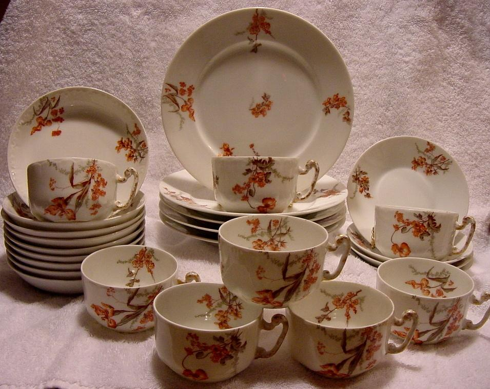 Wonderful DINNER/ DESSERT SET (26 Pieces!) ~ Limoges Porcelain ~ Factory Decorated with Rust & Peach Flowers ~ JPL ~ Jean Pouyat Limoges France 1890+
