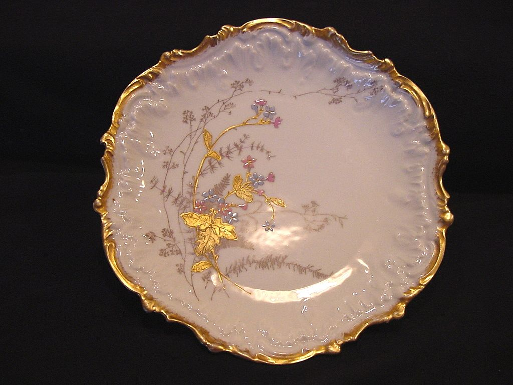 Wonderful Limoges Porcelain Cabinet Plate ~ Factory Decorated with Gold ~ Coiffe ~ 1890-1925