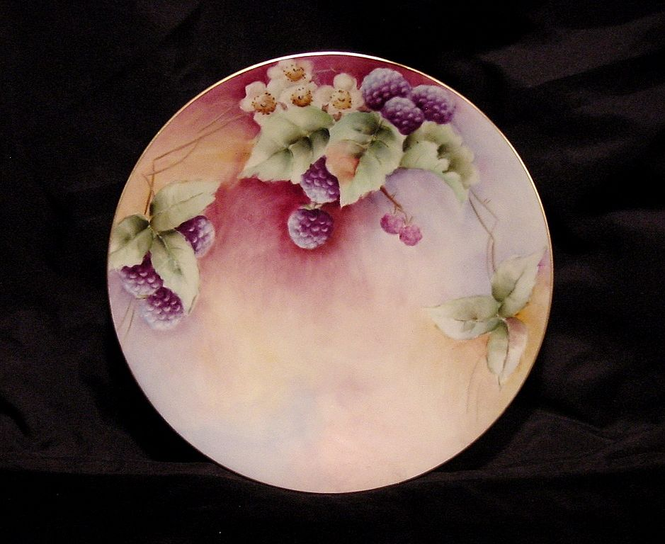 Attractive Limoges France Porcelain Cabinet Plate ~ Hand Painted with Delicious Blackberries ~ Artist Initialed ~ Jean Pouyat JPL ~ 1890-1932