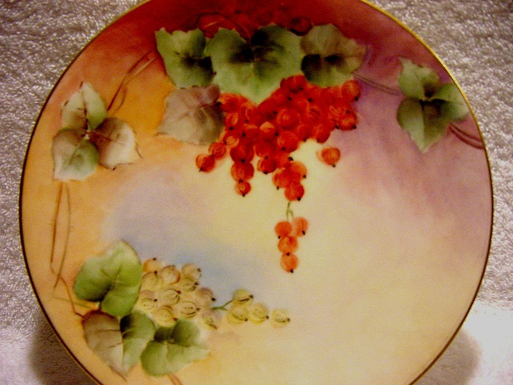 Beautiful Limoges Porcelain Cabinet Plate ~ Hand Painted with Vibrant Currants ~ Artist Initialed ~ T & V Limoges France, ca. 1892-1907