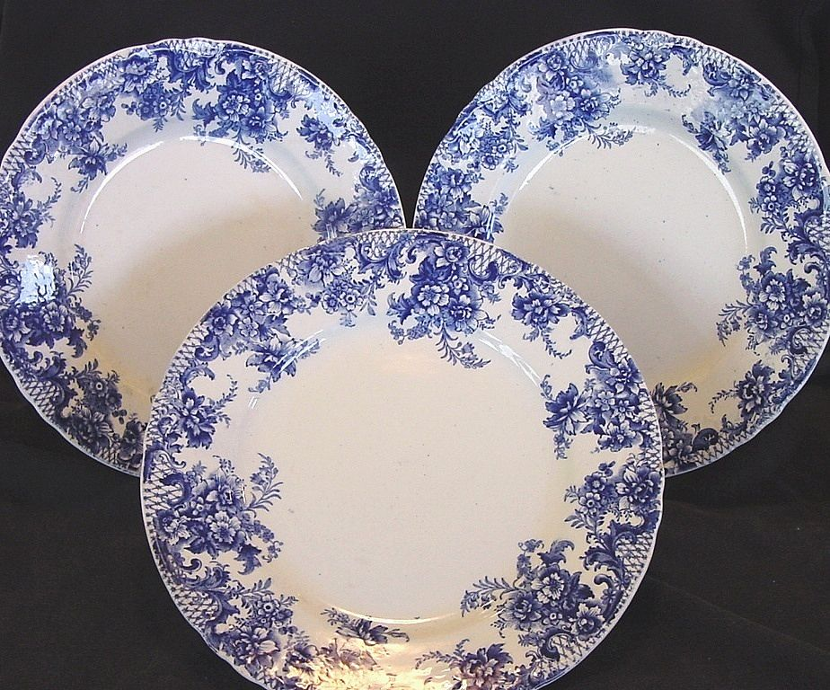 ( 3 ) Wonderful Old English Blue & White Earthenware Plates~ Trellis Pattern ~ W Adams & Co Tunstall England before 1891