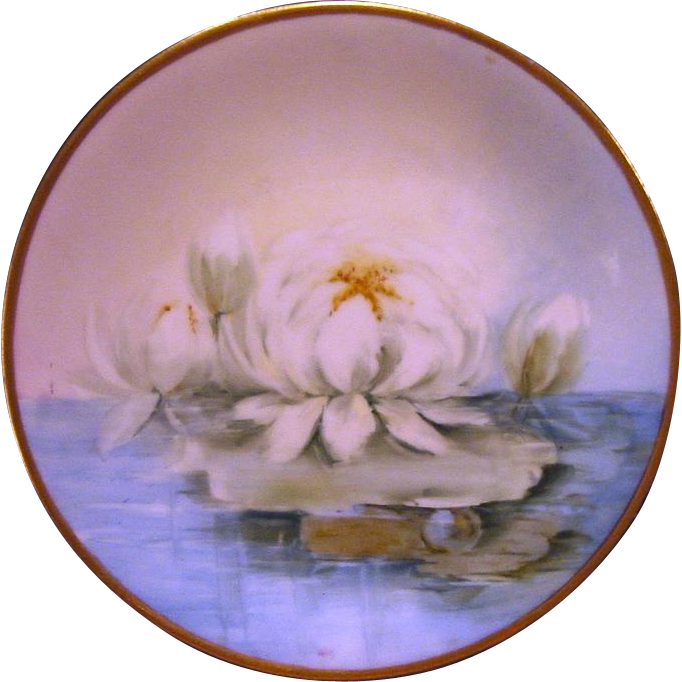 STUNNING Limoges Porcelain Cabinet Plate ~Hand Painted With Blooming Water Lilies ~Delinieres & Co 1894-1900