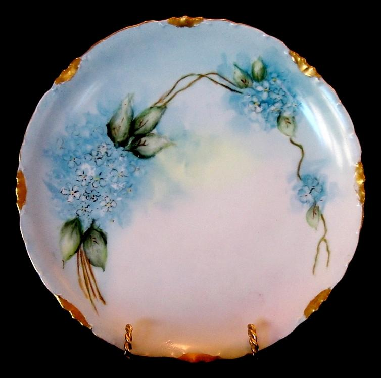 Beautiful Limoges Porcelain Plate ~ Hand Painted With Blue Forget-Me-Nots ~ Artist Signed ~ Rosenthal Bavaria 1907+