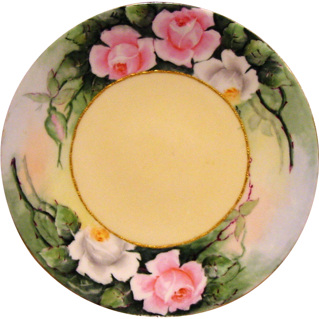 50% OFF! Wonderful Limoges Porcelain Cabinet Plate ~ Hand Painted with Pink & White Roses ~ Artist Initialed ~ Jean Pouyat (JPL)  1890-1932