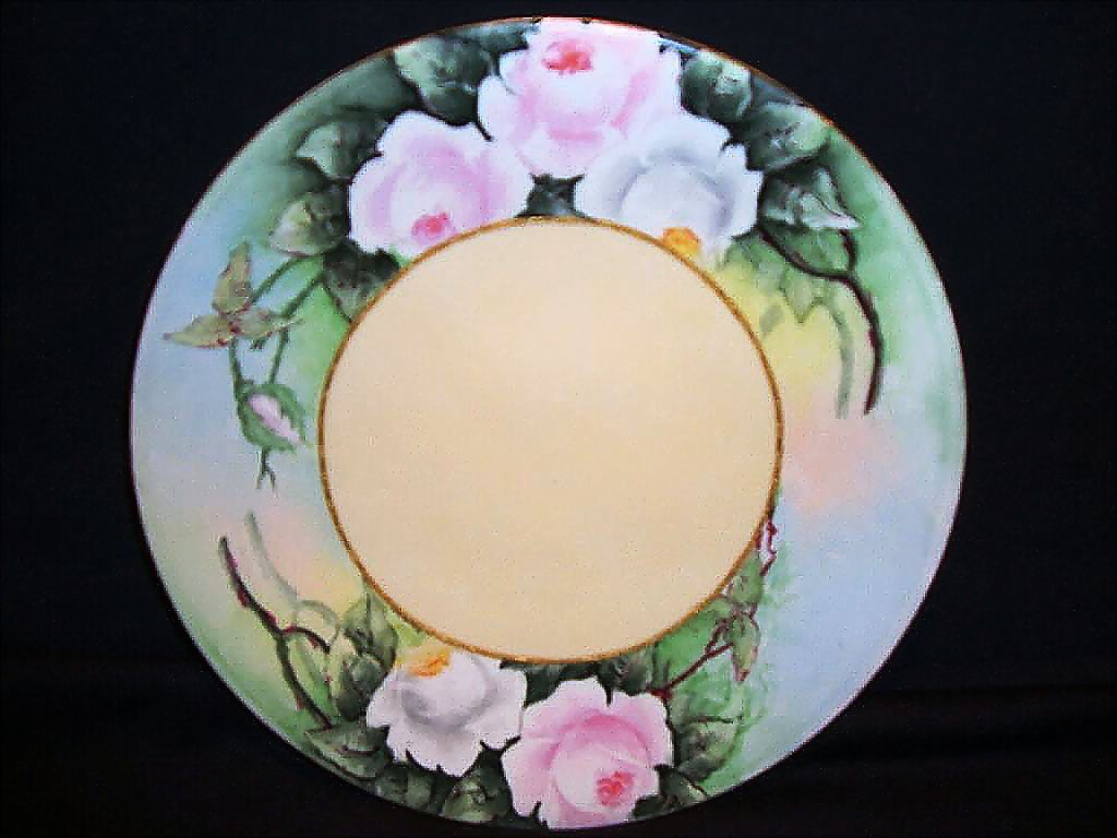 Beautiful Cabinet Plate ~ Limoges Porcelain ~ Hand Painted by A. Andriana with Pink and White Roses ~ Jean Pouyat 1890-1932