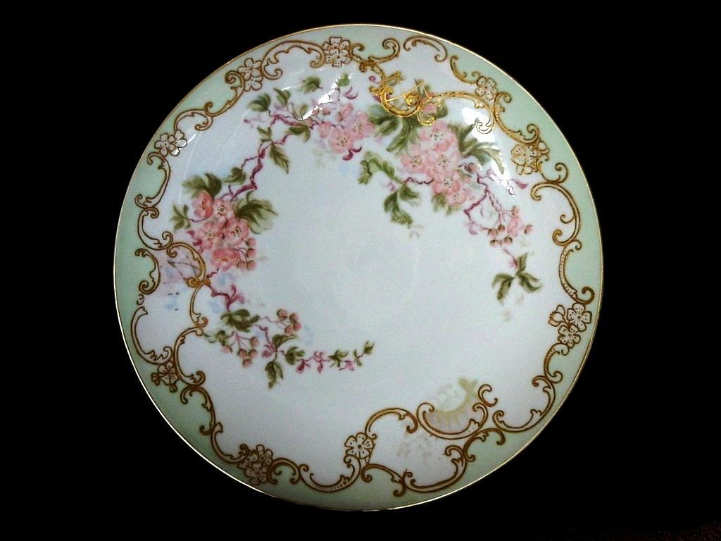 "Large 12 3/4"" Limoges Porcelain Wall Plaque/ Charger / Cabinet Plate ~ Hand Painted with Cherry Blossoms ~ Delinieres & Co 1894-1910"