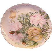 50% OFF! Phenomenal Limoges Charger 11 1/2 '' / Cabinet Plate ~ Hand Painted with Yellow, Pink and Red Roses ~ Artist Signed ~ Tressemann & Vogt   1892-1907