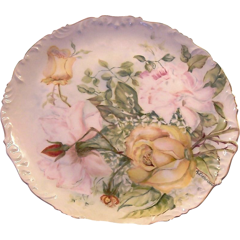 Phenomenal Limoges Charger 11 1/2 '' / Cabinet Plate ~ Hand Painted with Yellow, Pink and Red Roses ~ Artist Signed ~ Tressemann & Vogt   1892-1907
