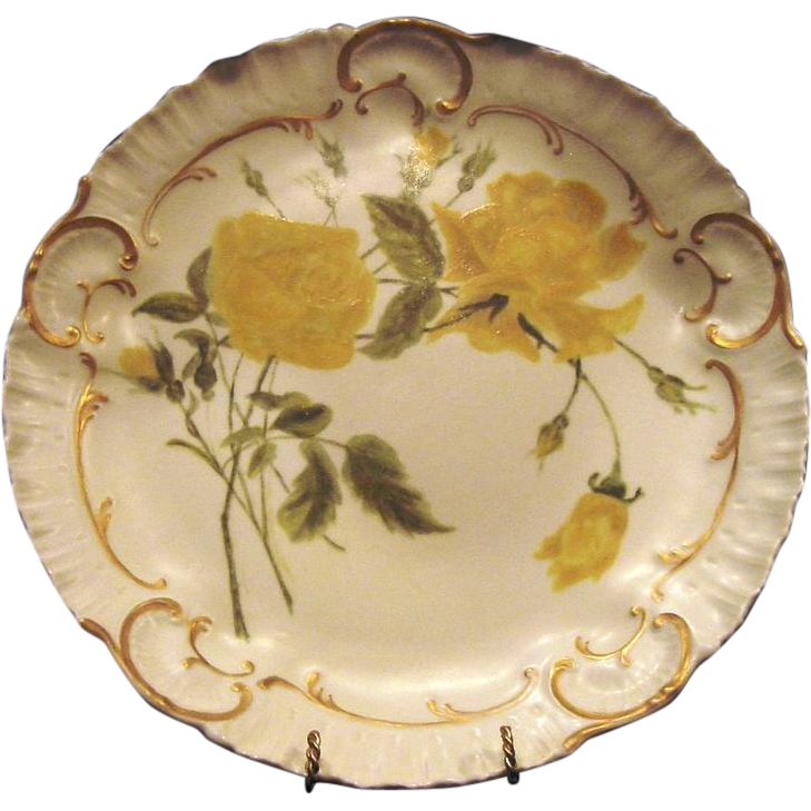 "Exquisite 12 1/2"" Limoges Porcelain Charger / Cabinet Plate ~ Hand Painted Yellow Roses on Matte Finish ~ A. Lanternier 1891-1914"