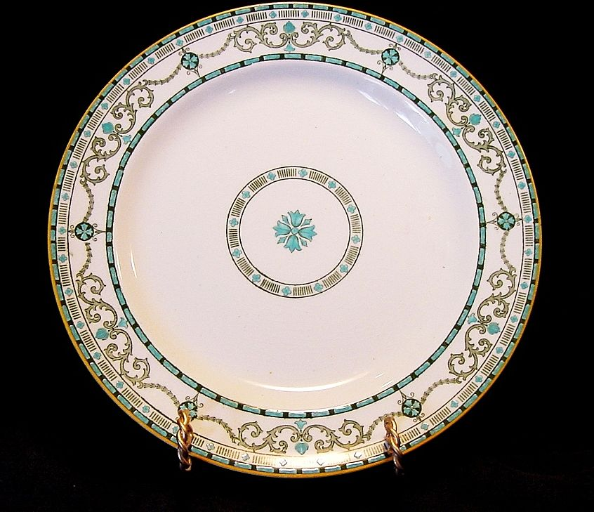 Beautiful English Cabinet Plate with Raised Enamel Geometric Designs ~ Ridgways