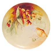 50% OFF! Awesome Limoges Porcelain Cabinet Plate ~ Hand Painted with Burnt Orange Poppies ~ Artist Signed ~ Haviland 1894-1931