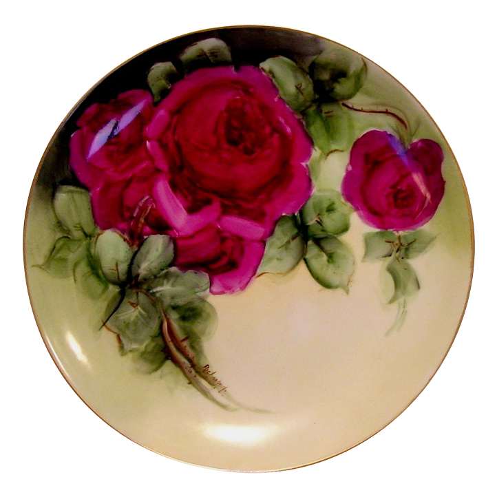 50% OFF!  Unbelievable Limoges Porcelain Cabinet Plate ~ Hand Painted with Deep Magenta Cabbage Roses~ Artist Signed ~ Mavaleix 1908-1914