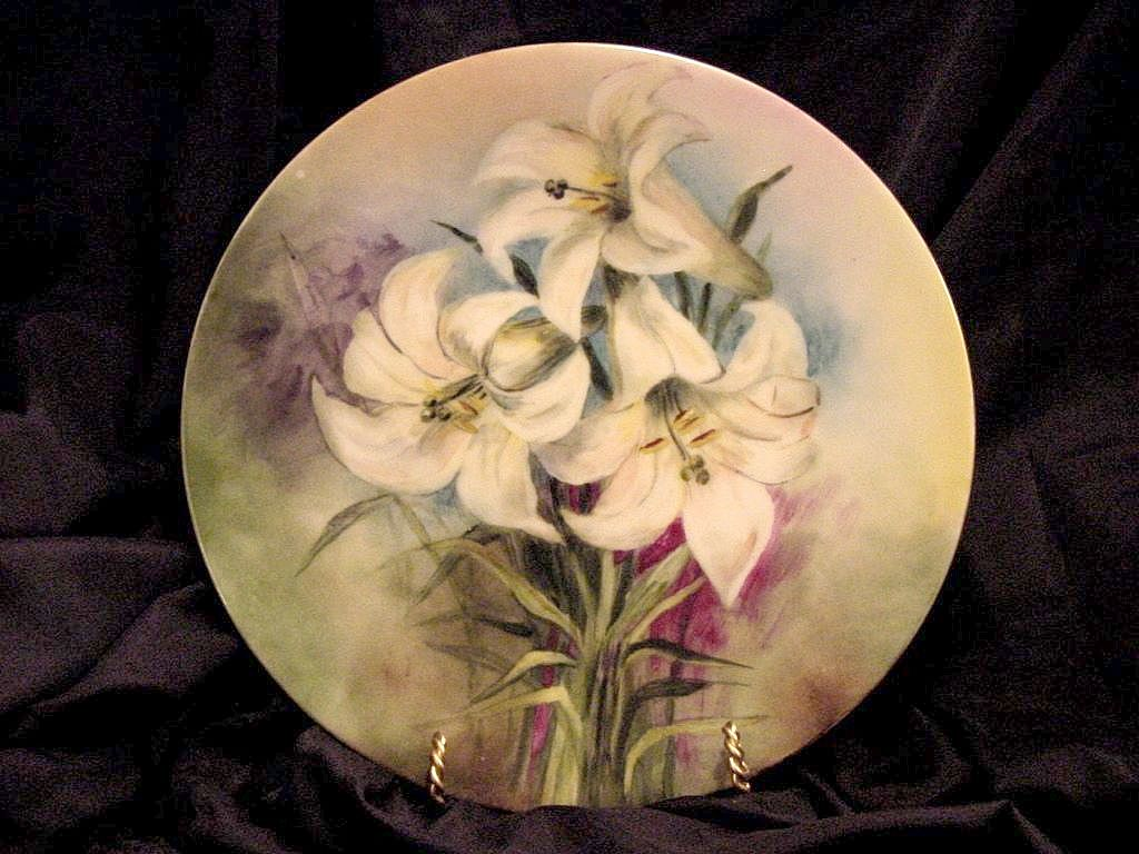 50% OFF! Colorful Limoges Porcelain Cabinet Plate ~ Hand Painted with White Lilies ~ JPL Jean Pouyat  1890-1932