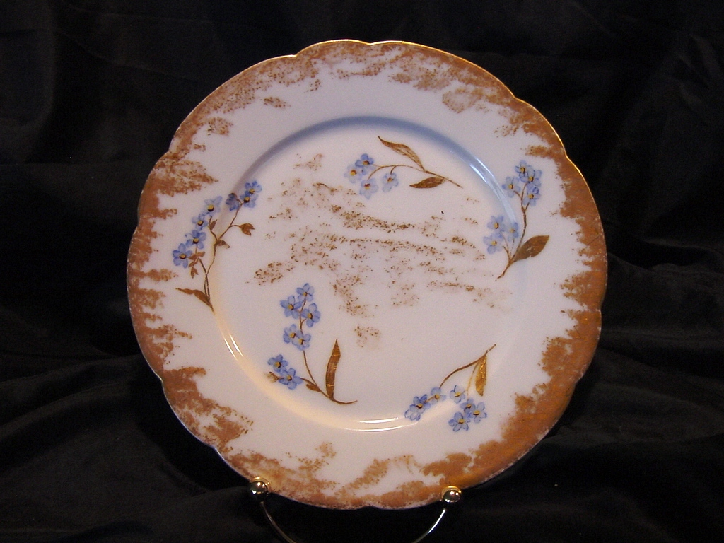 50% OFF!  Striking Limoges Porcelain Cabinet Plate ~ Hand Painted with Delicate Blue Flowers ~ Artist Initial & Dated ~ Gerard Dufraisseix & Morel /CF Haviland (GDM / CFH) 1882-1890