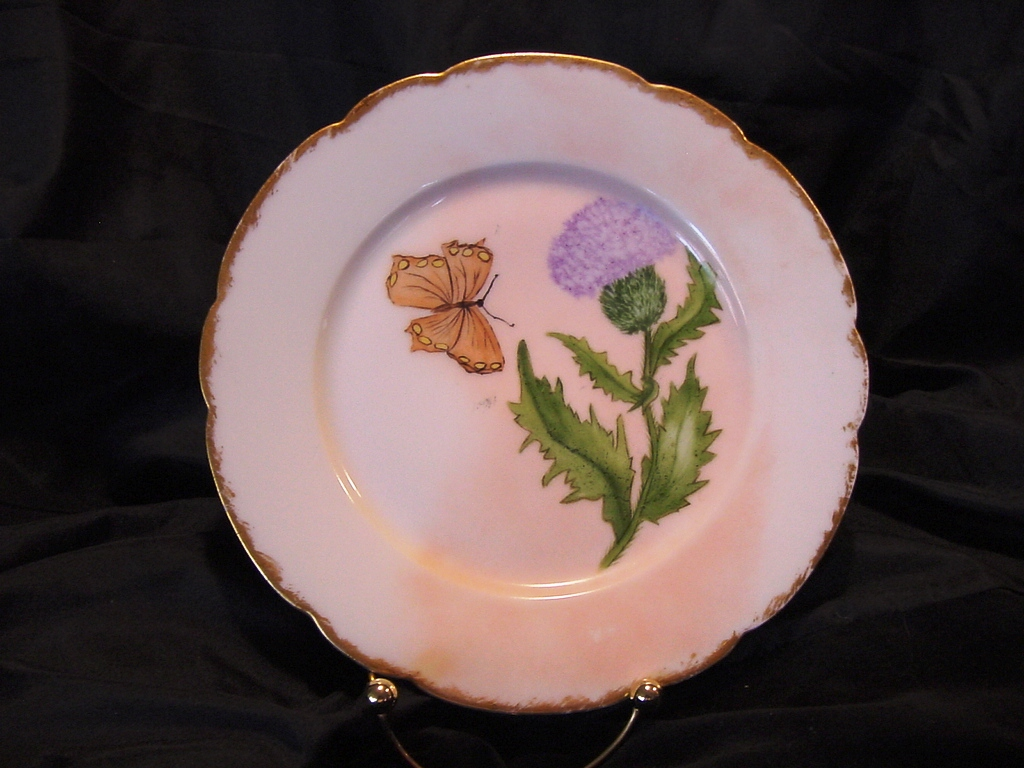 50% OFF!   Limoges Porcelain Cabinet Plate ~ Hand Painted with Purple Thistle Flower and Yellow Butterfly ~ Artist Initial & Dated ~ Gerard Dufraisseix & Morel  (GDM / CFH) 1882-1890