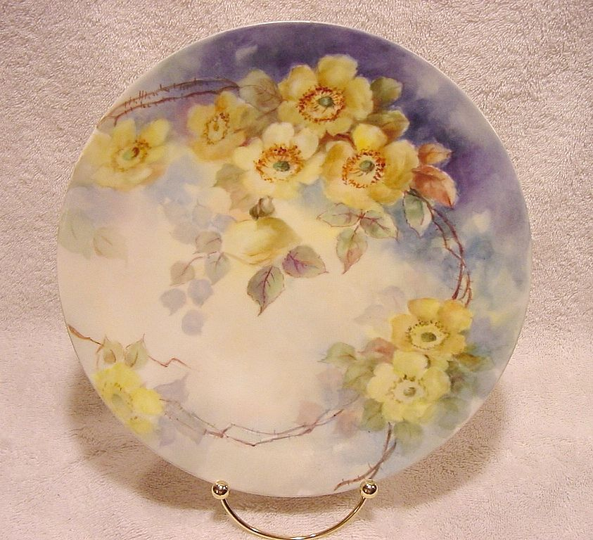 Wonderful Limoges Porcelain Cabinet Plate ~ Hand Painted with Wild Yellow Roses ~ Artist Signed  ~ T&V Tressemann & Vogt 1892-1907
