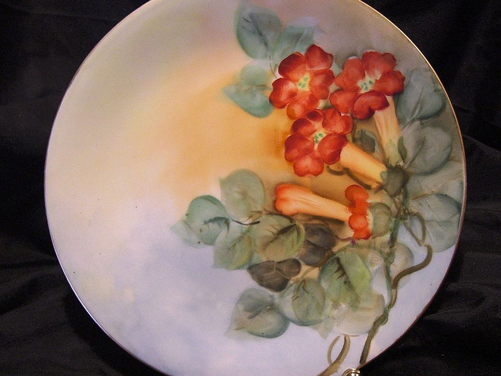 50% OFF!  Beautiful Limoges Cabinet Plate ~ Hand Painted with Vibrant Orange Trumpet Vines ~ Artist Initialed ~ Delinieres & Co 1894-1910