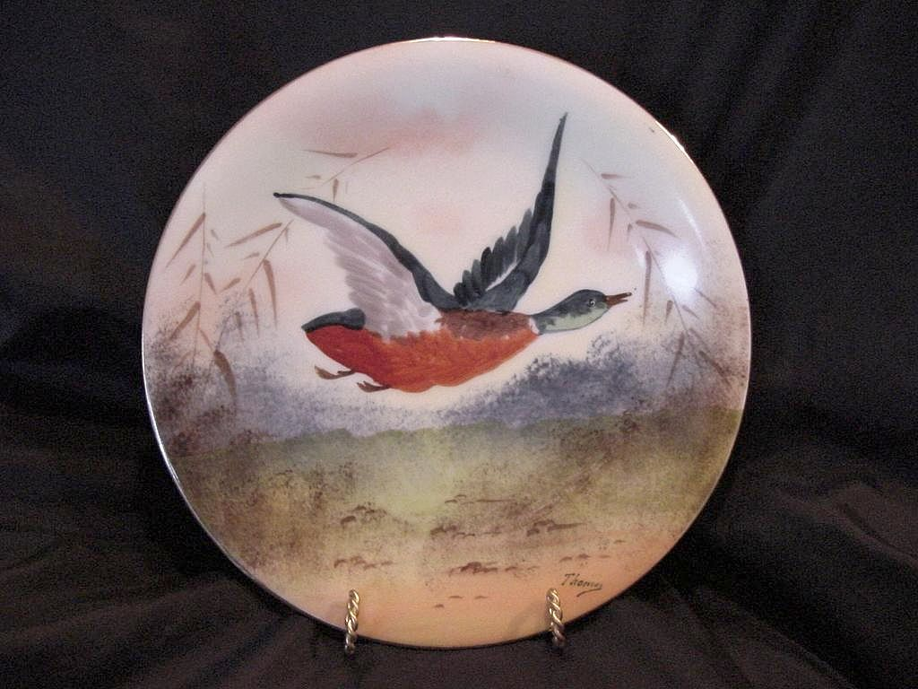 50% OFF!  Handsome Limoges Porcelain Game Plate ~ Hand Painted With a Mallard Drake in Flight ~ Artist Signed ~ Charles Martin 1891-1900