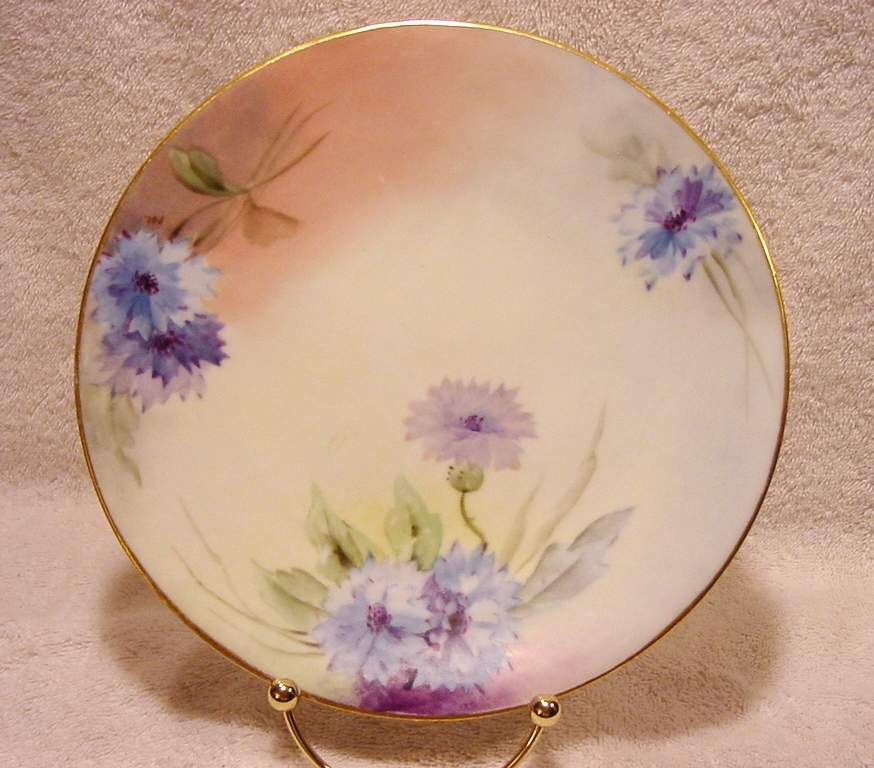 Beautiful Porcelain Cabinet ~ White Art Company Decorated ~ Hand Painted with Blue and Lavender Bachelor Button or Aster Flowers  ~ Artist Initialed ~ 1914-1923