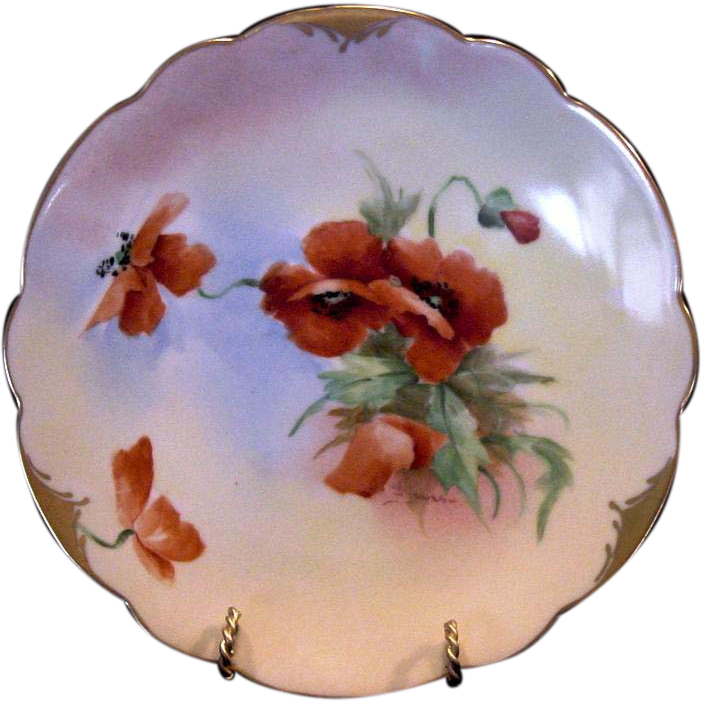 "50% OFF!  Vibrant  Orange Poppies ~ Porcelain Cabinet Plate ~ Pickard Studio Decorated,Mark 4 ca.-1905~ By Artist ""Florence James"""