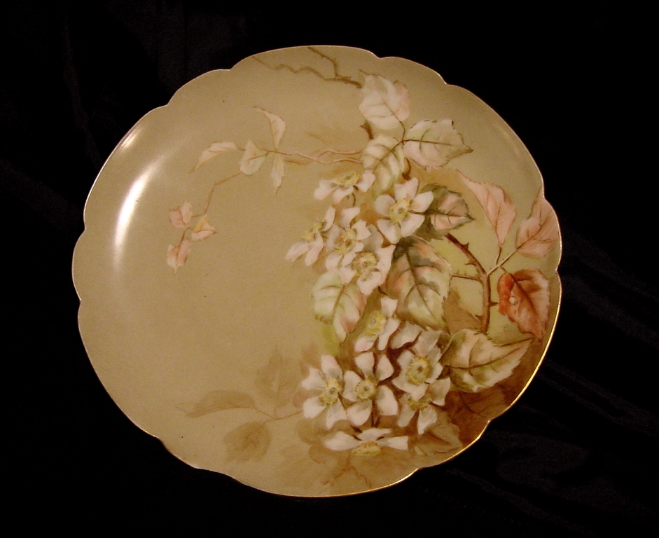 50% OFF Outstanding Limoges Porcelain Cabinet Plate ~ Hand Painted with White Berry Blossoms ~ Haviland & Co 1888-1896