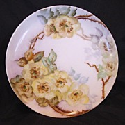 50% OFF!  Wonderful Limoges Porcelain Cabinet Plate ~ Hand Painted with Wild Yellow Roses ~ Artist Signed ~ Haviland Limoges ~ 1894-1931