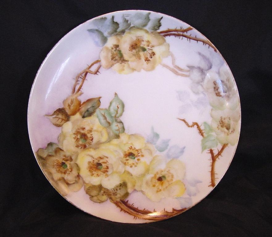 Wonderful Limoges Porcelain Cabinet Plate ~ Hand Painted with Wild Yellow Roses ~ Artist Signed ~ Haviland Limoges ~ 1894-1931