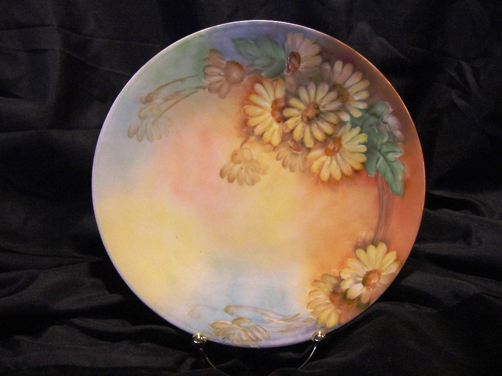 50% OFF!  Lovely Limoges Porcelain Cabinet Plate ~ Hand Painted with Sunny Daisy Flowers ~ Artist Signed ~ Jean Pouyat  (JPL)  1890-1932