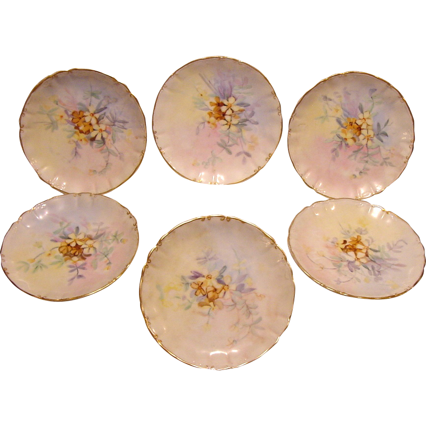 "50% OFF!  Expertly Decorated Limoges Plates ~(6) beautiful  6"" Plates ~ Hand Painted with Pastel Colored Flowers ~ William Guerin ca.1900 – 1919"