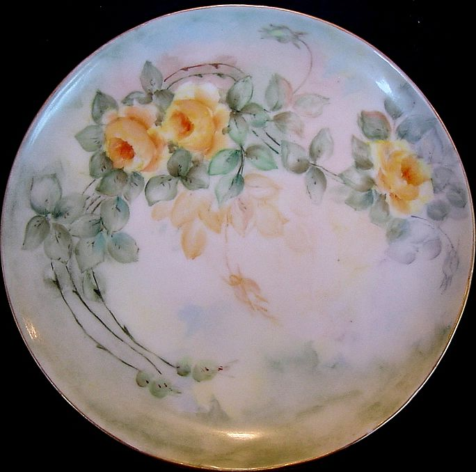 Beautiful Limoges Porcelain Cabinet Plate ~ Hand Painted with Soft Yellow Roses ~ Artist Initialed ~ CMC or GMC