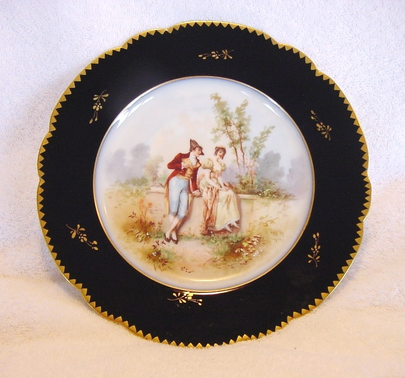 50% OFF!  Gorgeous Porcelain Portrait Plate with a Courting Scene ~ Cobalt Blue & Gold Rim ~ Limoges France