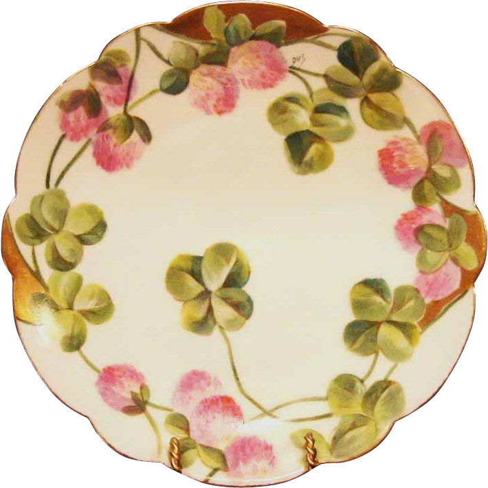 50% OFF!  Wonderful ~ Limoges Porcelain ~ Cabinet Plate ~ Hand Painted with Pink Clovers ~ Flambeau 1890-1900