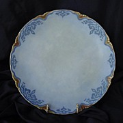 Attractive Austrian Porcelain Cabinet Plate ~ Hand Painted ~ Blue Matte Finish ~ Oscar and Edgar Gutherz OE&G Austria ca.1899-1913
