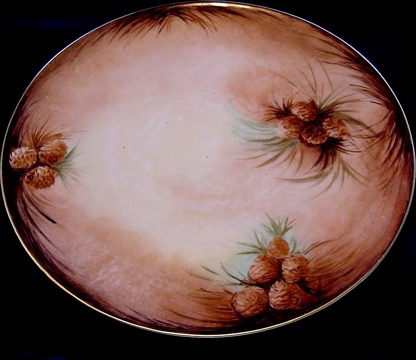 Awesome Limoges Porcelain Tray 11 1/2''  ~ Hand Painted with Pinecones ~ Artist Signed~ Tressemann & Vogt ( T & V) 1892-1907