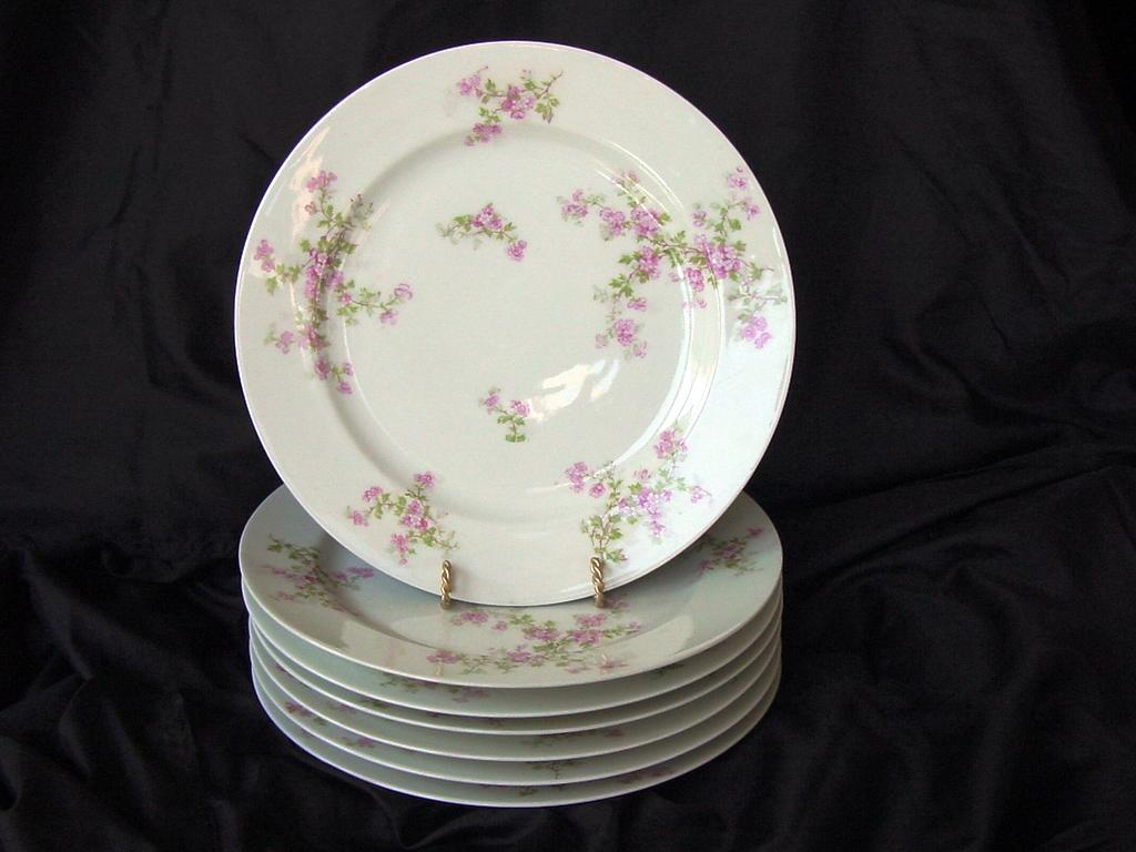 50% OFF!  Seven (7) Limoges Porcelain Dinner Plates ~ Pinkish Purple Flowers ~ Haviland Limoges 1889-1931