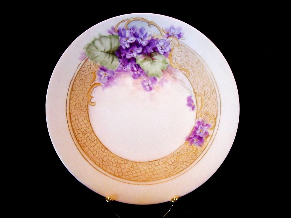 50% OFF!  OUTSTANDING Limoges Porcelain Cabinet Plate ~ Hand Painted with African Violets ~ JPL Jean Pouyat ~ 1890-1932